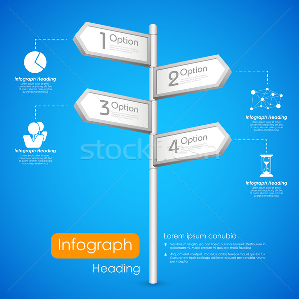 Direction post in Infographic Background Stock photo © vectomart
