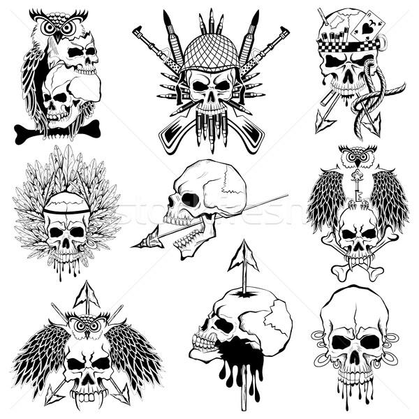 Vintge style grungy skull print retro background Stock photo © vectomart