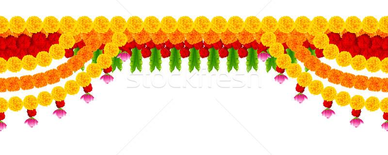 Сток-фото: цветок · гирлянда · украшение · счастливым · Дивали · праздник
