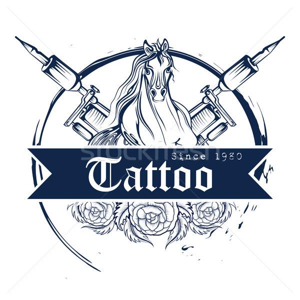 Tatuaje arte diseno caballo línea estilo Foto stock © vectomart