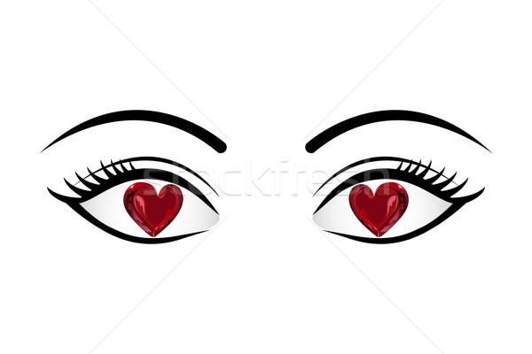 Sevmek gözler örnek kalp yalıtılmış göz Stok fotoğraf © vectomart