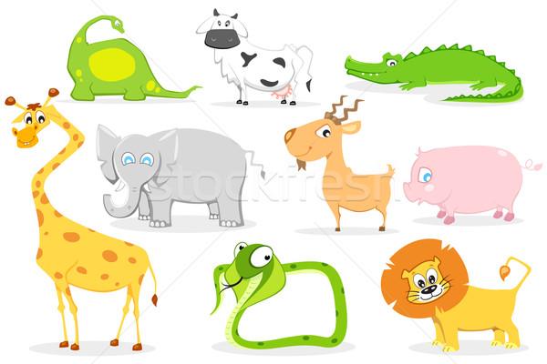 Animais bonitos ilustração conjunto bonitinho animal cópia espaço Foto stock © vectomart
