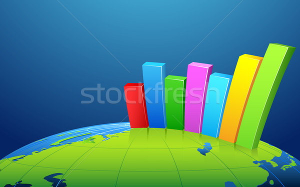 Bar Graph on Earth Stock photo © vectomart