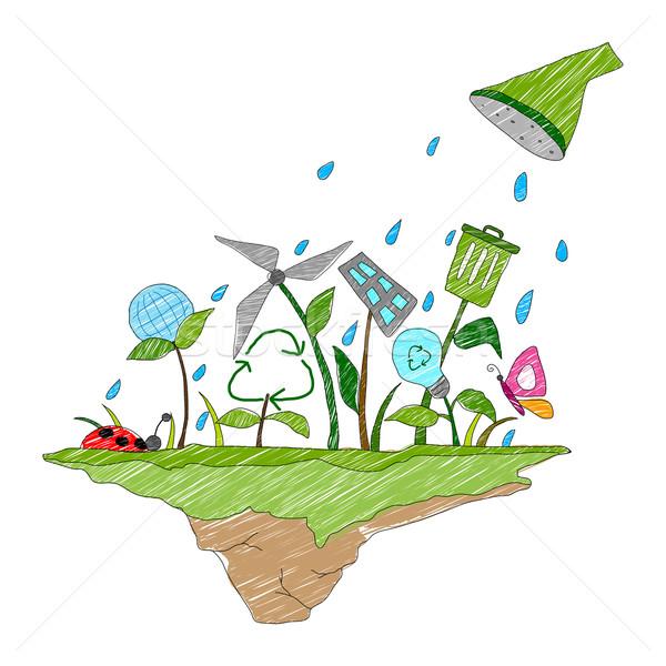 Föld napja illusztráció egészséges jövő tavasz fű Stock fotó © vectomart