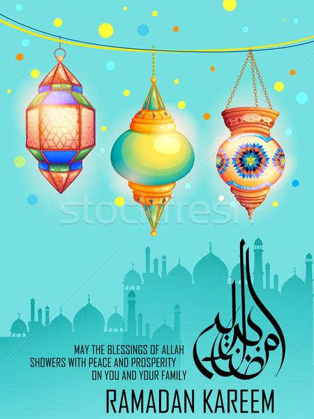 Ramadán üdvözlet megvilágított lámpa illusztráció arab Stock fotó © vectomart