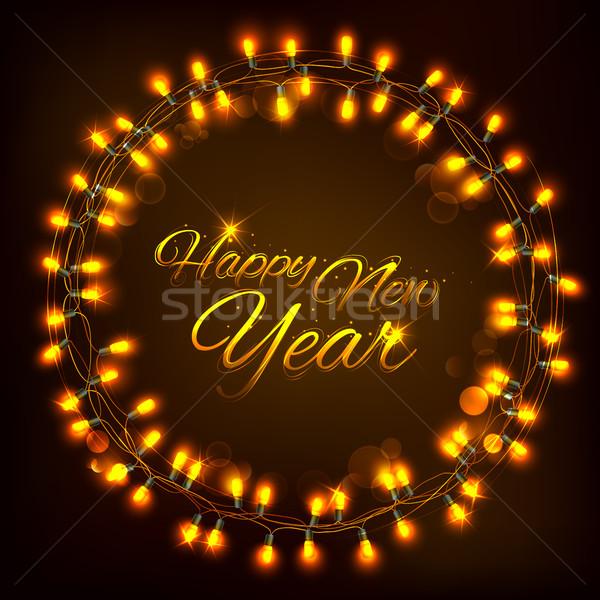 Boldog új évet ünneplés absztrakt évszakok üdvözlet fény Stock fotó © vectomart
