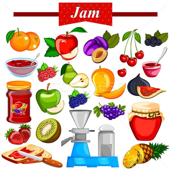 различный разнообразие фрукты Jam желе ингредиент Сток-фото © vectomart