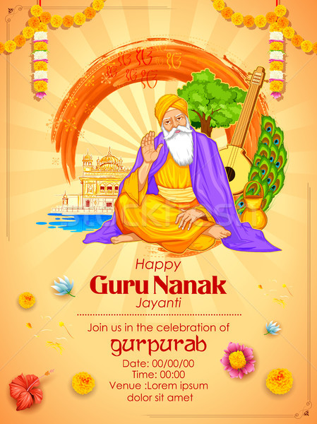 Happy Gurpurab, Guru Nanak Jayanti festival of Sikh celebration background Stock photo © vectomart