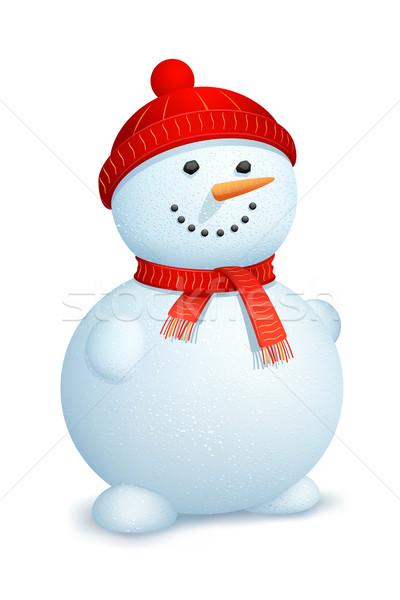 Foto d'archivio: Pupazzo · di · neve · indossare · sciarpa · illustrazione · cap · Natale