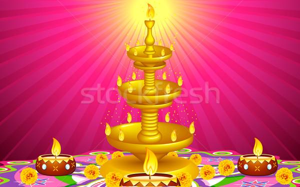 Golden Diya Stand Stock photo © vectomart