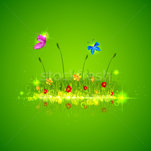 Green Grass with Butterfly Stock photo © vectomart