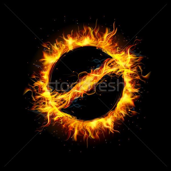 Ardiente senal de stop ilustración signo fuego Foto stock © vectomart
