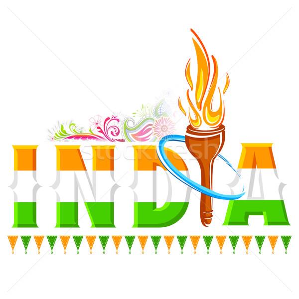 Fogo tocha Índia ilustração viajar bandeira Foto stock © vectomart