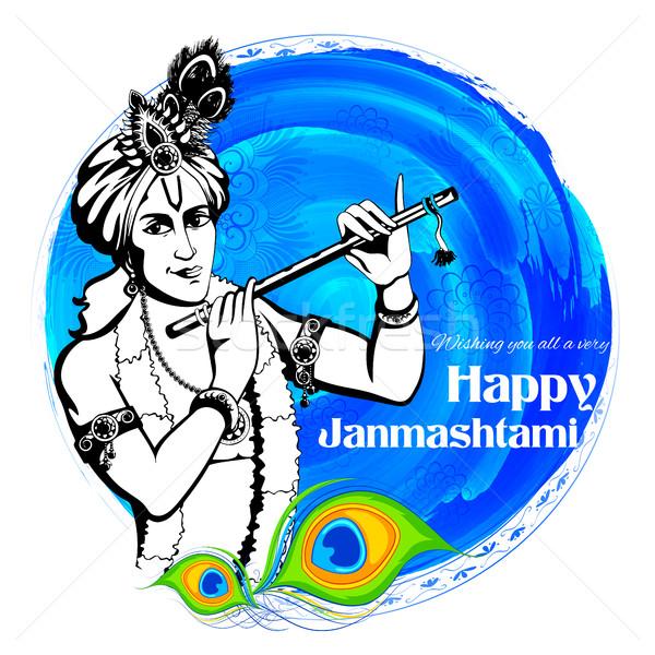 Lord Krishana in Happy Janmashtami Stock photo © vectomart