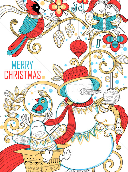 Doodle of Merry Christmas Holiday with Snowman Stock photo © vectomart