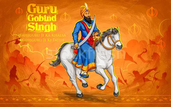 Feliz guru festival sikh celebração ilustração Foto stock © vectomart