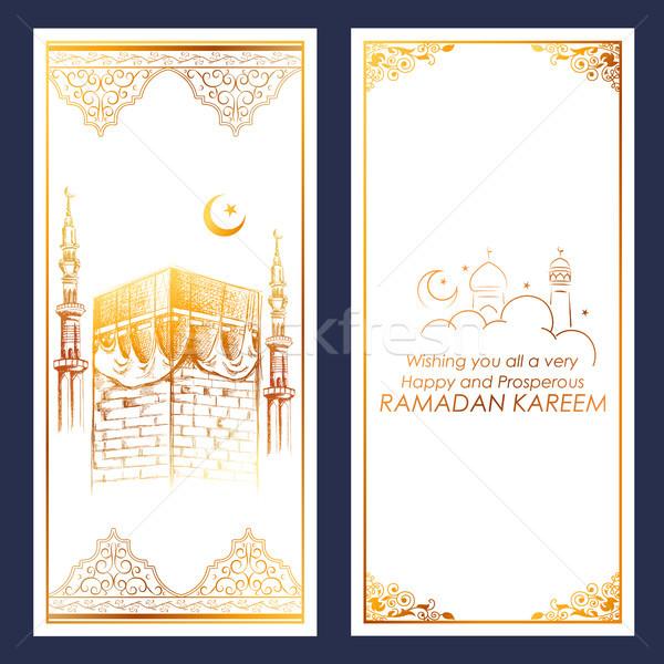 Ramadan Kareem Generous Ramadan greetings for Islam religious festival Eid with Mecca building Stock photo © vectomart
