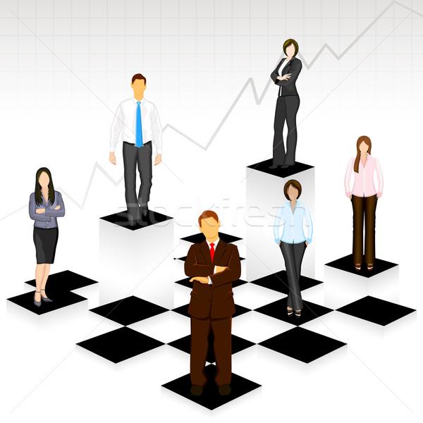 Gente de negocios tablero de ajedrez ilustración pie diferente nivel Foto stock © vectomart