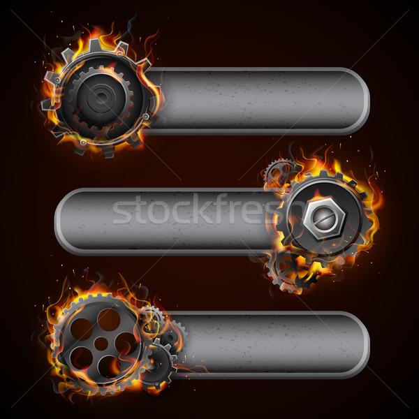 Ardente roda dentada roda ilustração fogo chama Foto stock © vectomart
