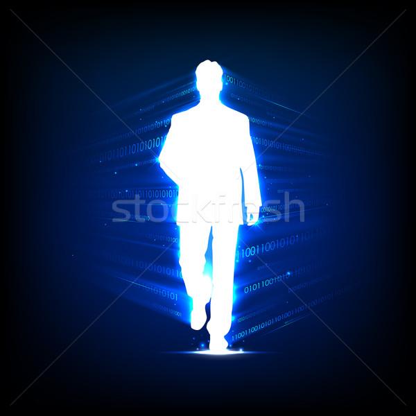 üzletemberek technológia illusztráció sétál bináris iroda Stock fotó © vectomart