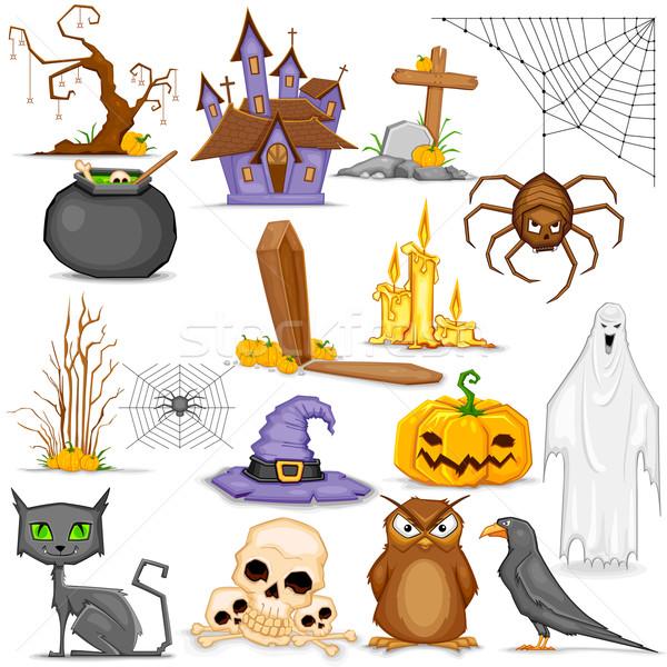 Halloween örnek ayarlamak kedi şeker Stok fotoğraf © vectomart