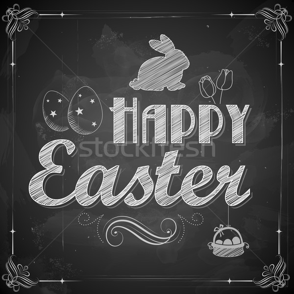 Happy Easter on chalkboard Stock photo © vectomart