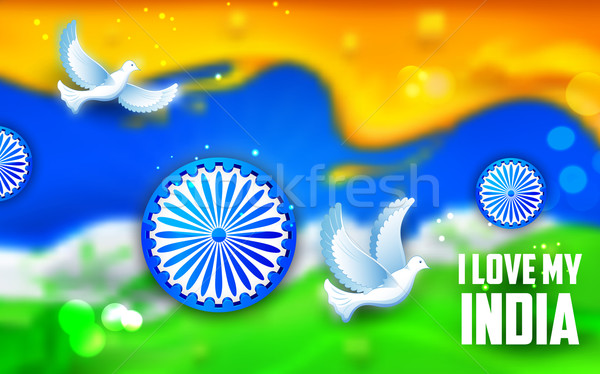 ove flying with Indian tricolor background Stock photo © vectomart