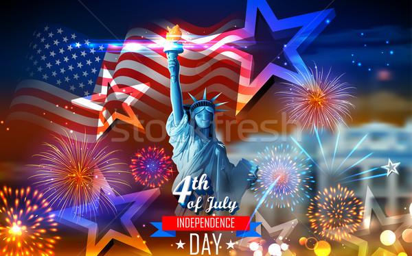 Gelukkig dag amerika illustratie standbeeld vrijheid Stockfoto © vectomart