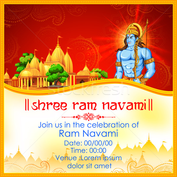 Lord Rama with bow arrow in Ram Navami Stock photo © vectomart