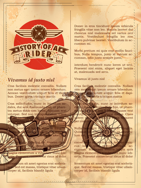 Vintage motorcycle on retro background Stock photo © vectomart