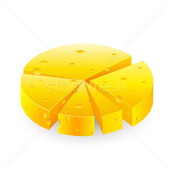 Cirkeldiagram illustratie kaas witte business achtergrond Stockfoto © vectomart