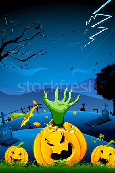 Stock photo: Hand coming out of Pumpkin