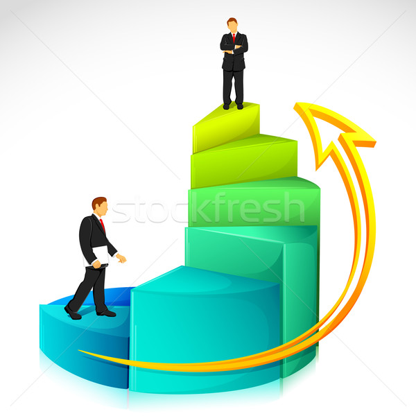 Businessman on Bar Graph Stock photo © vectomart