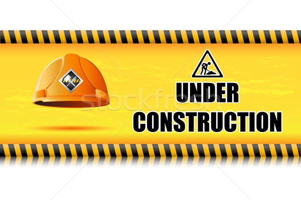 Védősisak építkezés tábla illusztráció háttér szerszám Stock fotó © vectomart