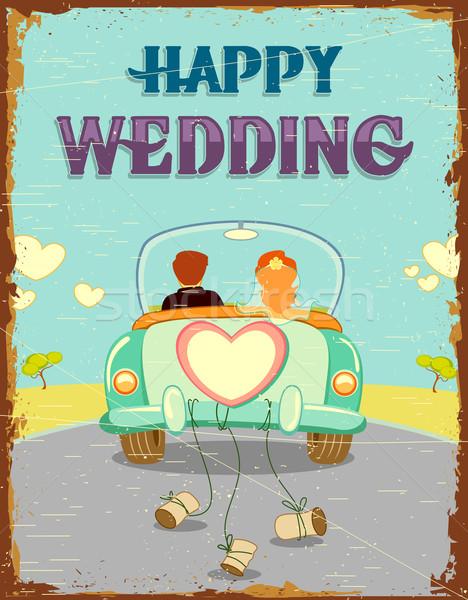 Friss házasok pár illusztráció autó klasszikus virág Stock fotó © vectomart