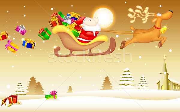 Santa Claus with Christmas gift in Sledge Stock photo © vectomart