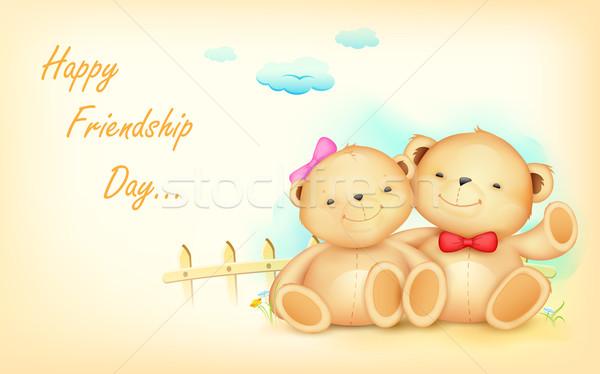 Heureux amitié jour illustration cute couple Photo stock © vectomart