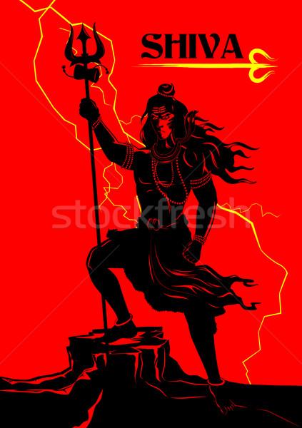 Шива индийской Бога иллюстрация поклонения власти Сток-фото © vectomart