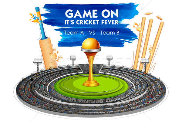Stade cricket bat trophée illustration ciel Photo stock © vectomart