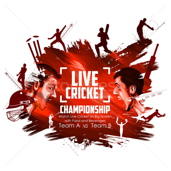Chapéu-coco jogar críquete campeonato ilustração esportes Foto stock © vectomart