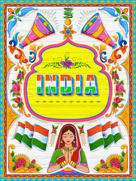 Colorful welcome banner in truck art kitsch style of India Stock photo © vectomart