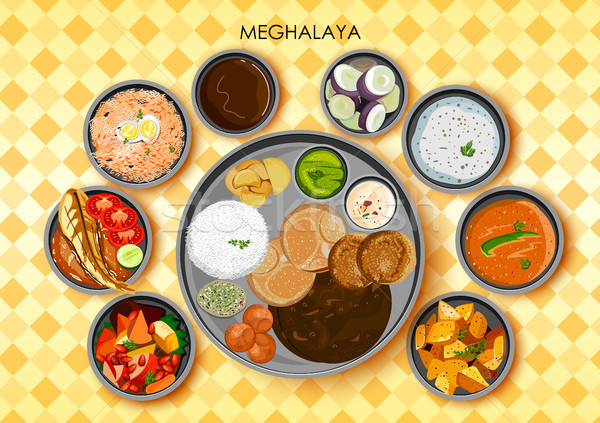 Traditional cuisine and food meal thali of Meghalaya India Stock photo © vectomart