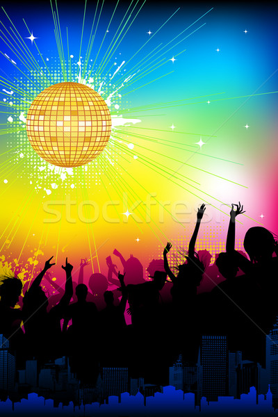 Photo stock: Musical · fête · illustration · foule · disco