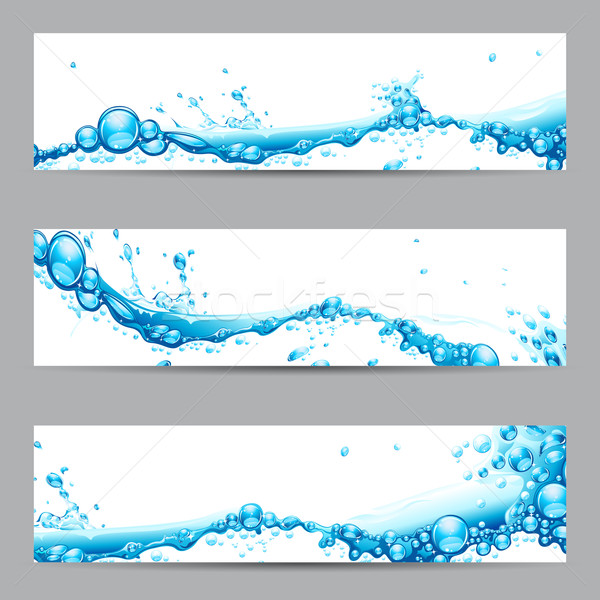 Stockfoto: Banner · illustratie · ingesteld · business · water