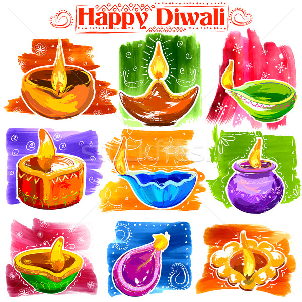 Burning diya on Happy Diwali Holiday watercolor banner background for light festival of India Stock photo © vectomart