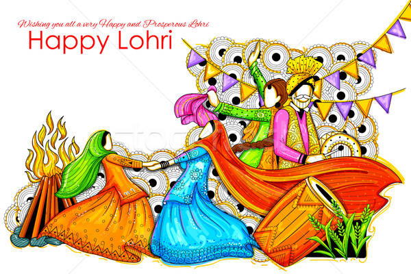 Happy Lohri background for Punjabi festival Stock photo © vectomart