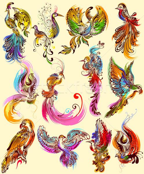 Tattoo art design of Bird collection Stock photo © vectomart