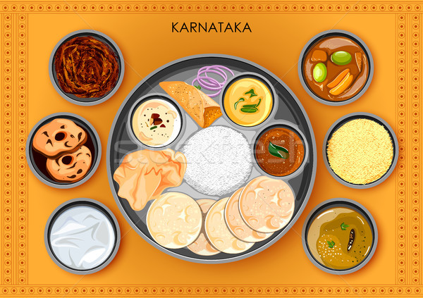 Traditional Karnatakan cuisine and food meal thali of Karnataka India Stock photo © vectomart
