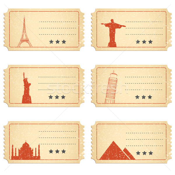 Ticket verschillend illustratie wereld beroemd reizen Stockfoto © vectomart