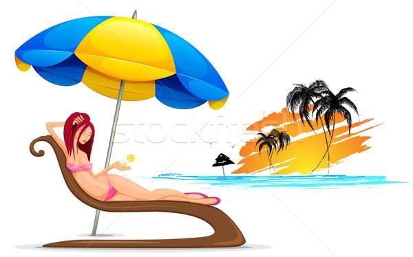 Bayan plaj örnek rahatlatıcı plaj kıyafeti kokteyl Stok fotoğraf © vectomart